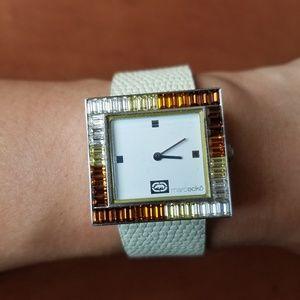 Marc Ecko cream leather square watch